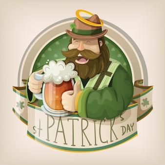 St. patrick traditioneller irischer priester im grünen trinkenden bier