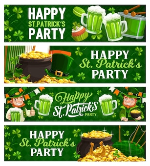 St. patricks day cartoon banner Premium Vektoren