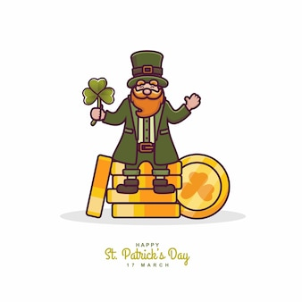 St. patricks day charakter illustration hintergrund mit kleemünzen