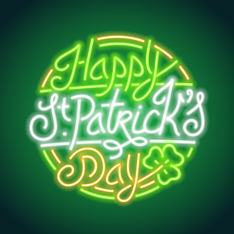 St. patricks day glowing neon sign