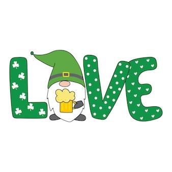 St. patricks day gnome patricks gnome cartoon-stil handgezeichnete vektor-illustration