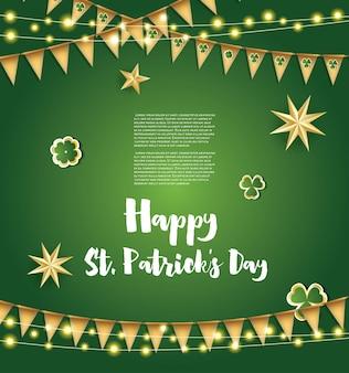 St. patricks day hintergrund mit goldenen flaggen, sternen und kleeblättern. vektor-illustration.