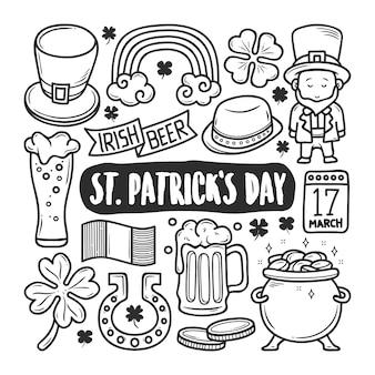 St patricks day icons handgezeichnete doodle färbung