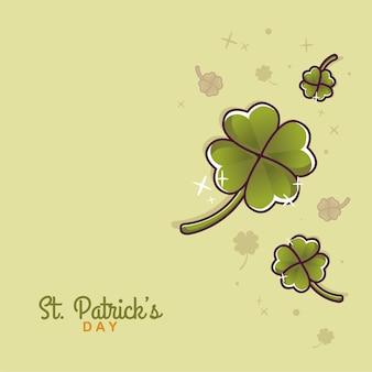 St. patricks day illustration hintergrund fliegende kleeblume karikatur
