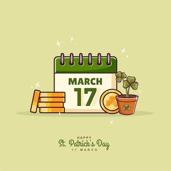 St. patricks day illustration hintergrund mit kalender