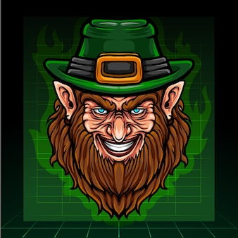 St. patricks day kobold kopf maskottchen fantasy arts. esport logo design.