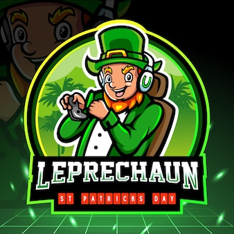 St. patricks day kobold maskottchen esport logo design.