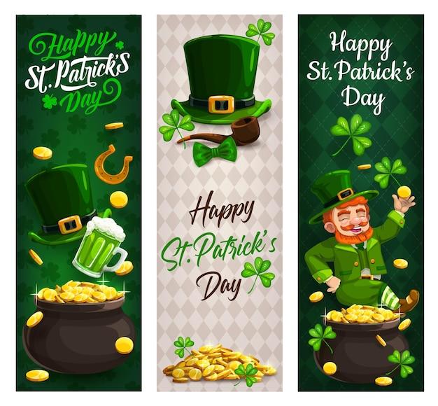 St. patricks day kobold mit gold, klee banner der irischen feiertage Premium Vektoren