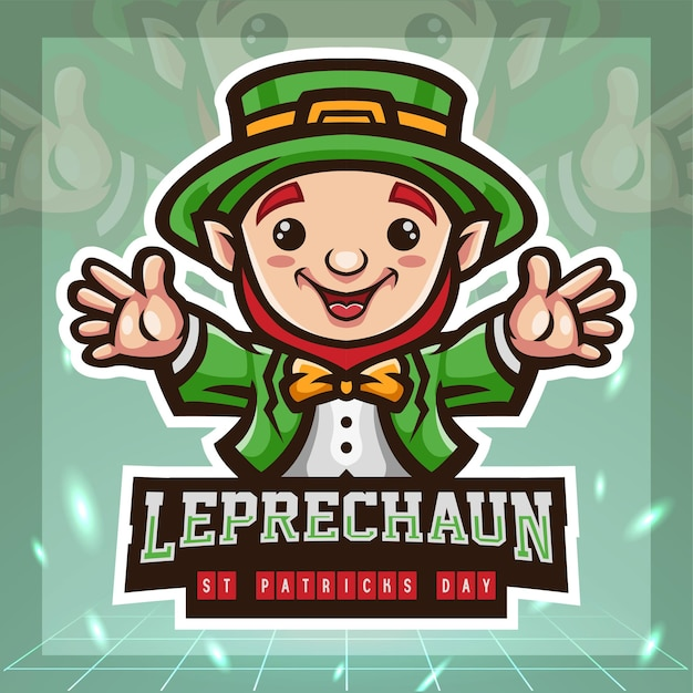 St. patricks day kobold niedlich cartoon maskottchen. esport logo design.