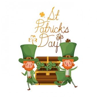 St. patricks day label mit leprechauns charakter