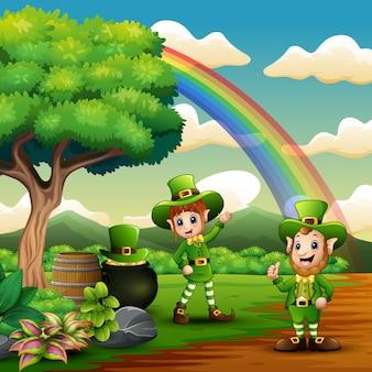 St. patricks day leprechaun feiern auf der natur