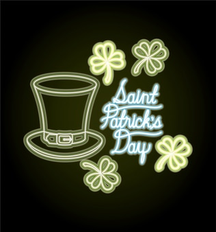 St. patricks day neon label mit hut lemprechaun