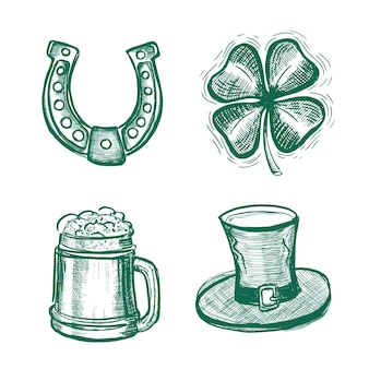 St. patricks day set handgezeichnete illustrationen