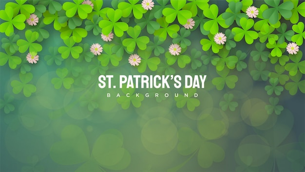 St. patricks tag voller grüner blätter, von oben bis unten bestreut.