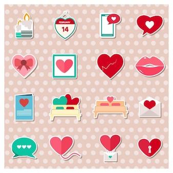 St. valentinstag-etiketten-pack