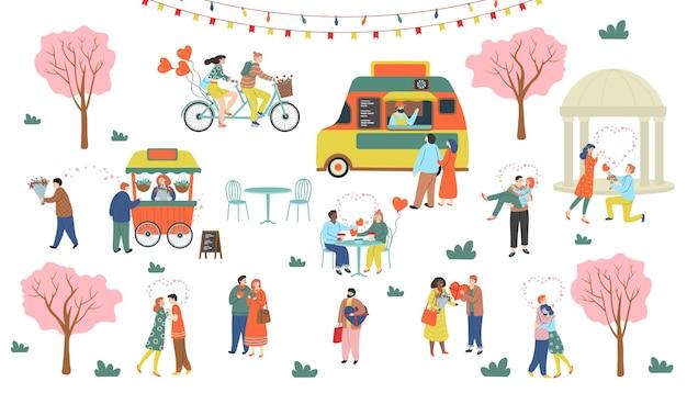 St. valentinstag satz von romantischen menschen. mann und frau umarmen sich, trinken, gehen, geben geschenke, machen vorschläge, fahren ein tandemfahrrad.