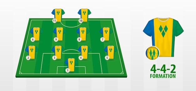 St. vincent und die grenadinen national football team bildung auf dem fußballplatz.