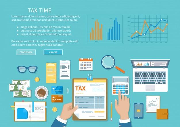 Staatliche besteuerung, steuerberechnung, steuererklärung.