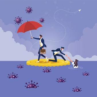 Staatliche unterstützung für unternehmen zusammenbruch der wirtschaft durch ausbruch des coronavirus