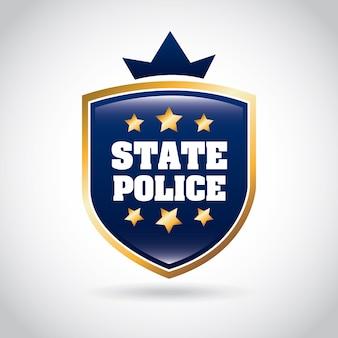 Staatspolizei über graue hintergrundvektorillustration