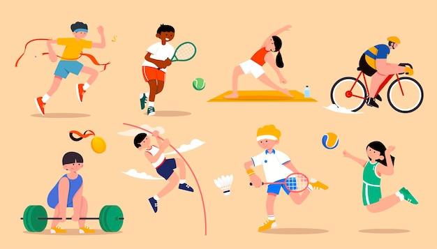 Stabhochsprung, volleyball, tennis, gewichtheben, yoga, radfahren, laufen, badminton sind weltklasse-sportarten, die sich auf allen ebenen messen.