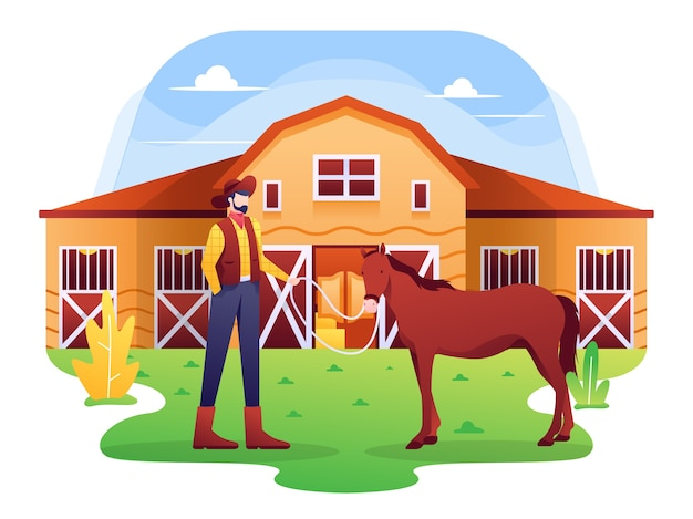 Stabile illustration, eine scheune oder ländliche umgebung für pferde, die normalerweise von einem cowboy verwaltet wird.