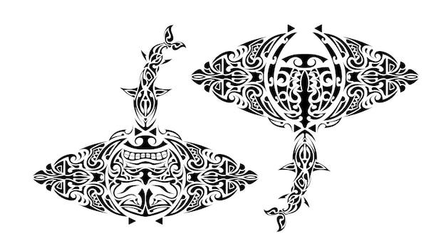 Stachelrochen im polynesischen stil. stachelrochen tattoo im polynesien-stil. gut für tattoos, drucke und t-shirts. isoliert. vektor.