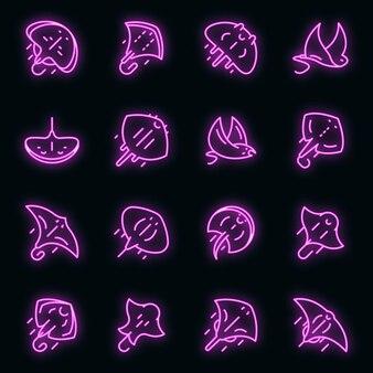 Stachelrochen-symbole gesetzt. umrisse von stachelrochen-vektorsymbolen neonfarbe auf schwarz