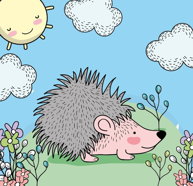 Stachelschwein tier mit pflanzen und glückliche sonne