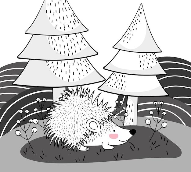 Stachelschweintier mit kiefern und bergen