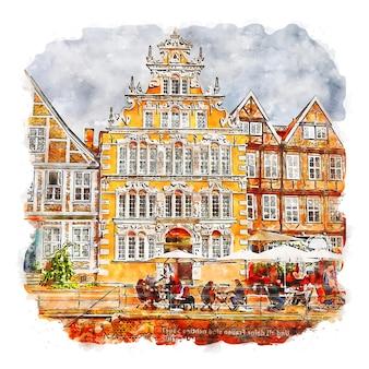 Stade deutschland aquarellskizze handgezeichnete illustration