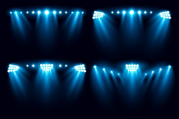 Stadion arena beleuchtung sammlung vektor-illustration