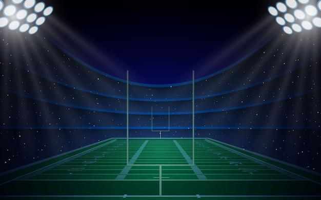Stadion-arenenfeld des amerikanischen fußballs mit hellen lichtern
