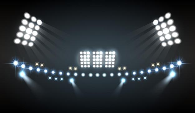 Stadion beleuchtet realistische komposition mit show- und technologiesymbolen