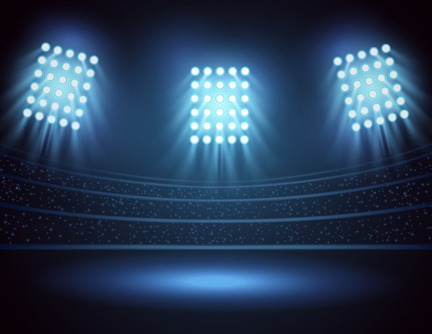 Stadionlichter und feld mit drei scheinwerfern. vektor-illustration