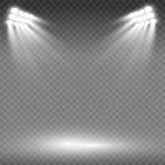 Stadionscheinwerfer beleuchten den abend hell