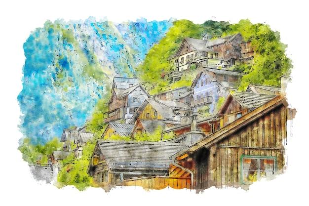 Stadt an berghängen aquarellzeichnung