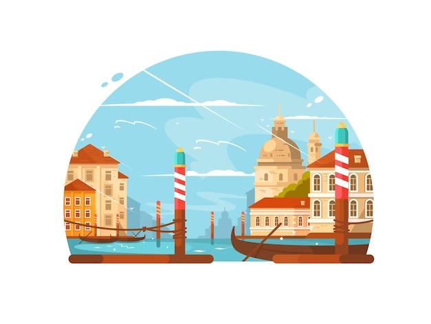 Stadt auf dem wasser mit booten und kanälen