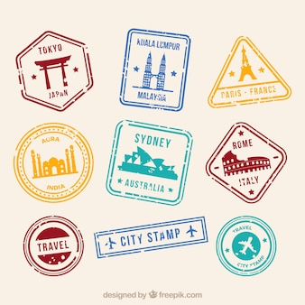 Stadt briefmarken sammlung in flachen stil