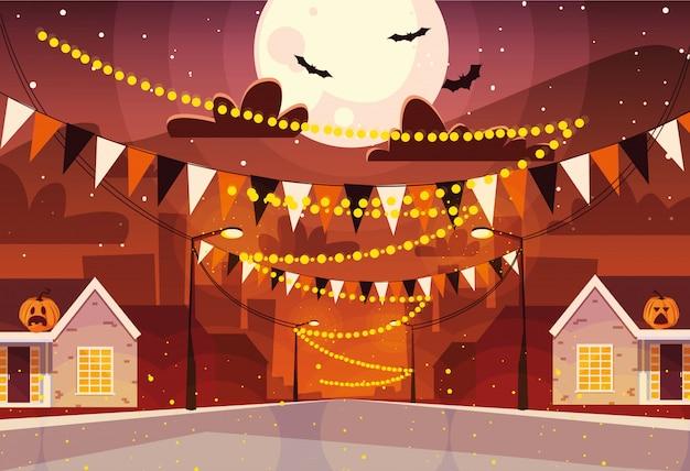 Stadt dekoriert für halloween-feier