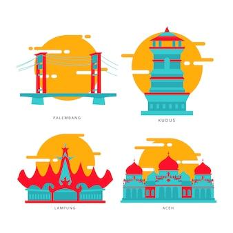 Stadt der indonesischen wahrzeichen-ikone