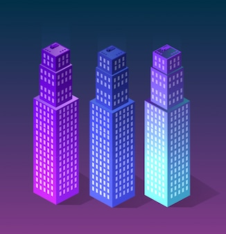 Stadt des ultravioletten stils einstellen