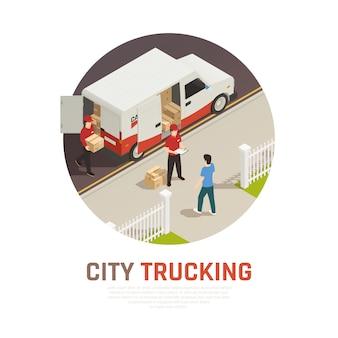 Stadt, die isometrische runde zusammensetzung mit frachtlieferung durch minibus transportiert