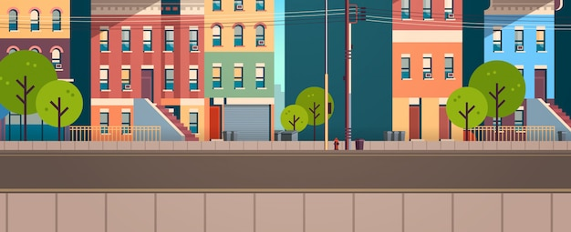 Stadt gebäude häuser ansicht sommer straße grüne bäume immobilien flach horizontal