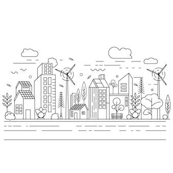 Stadt gebäude strichzeichnungen vektor icon design illustration vorlage