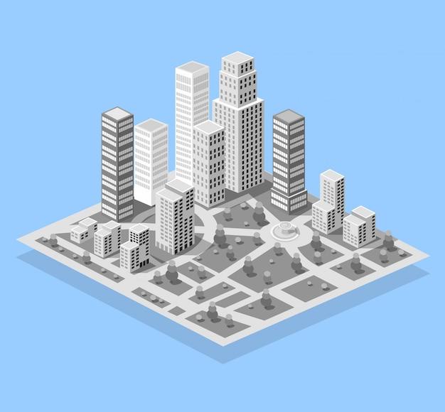 Stadt gesetzt modernes wolkenkratzergebäude für städtisches stadtbild