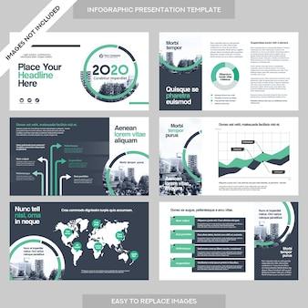 Stadt Hintergrund Business Company Präsentation mit Infografik Vorlage.