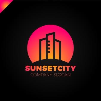 Stadt im sun-ikonen-logo-gestaltungselement