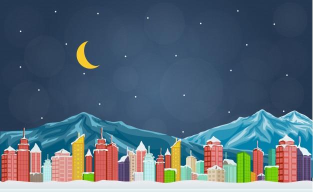 Stadt im winter mit berg