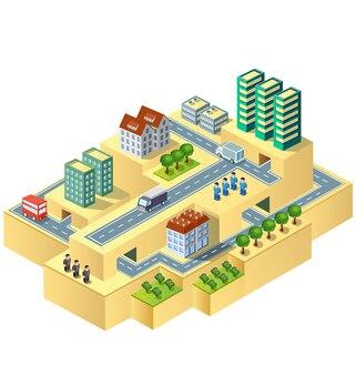 Stadt in der isometrischen ansicht mit der landschaft